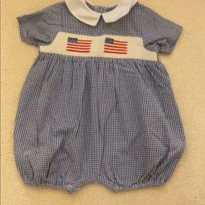 One Pieces - Flag Smocked Blue/White Checked Bubble Size 12m